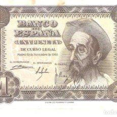 Billetes españoles: BILLETE DE ESPAÑA DE 1 PESETA DE 1951 CIRCULADA EL QUIJOTE. Lote 172093433