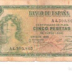Billetes españoles: BILLETE DE ESPAÑA DE 5 PESETAS DE 1935 MUY CIRCULADO . Lote 172094532