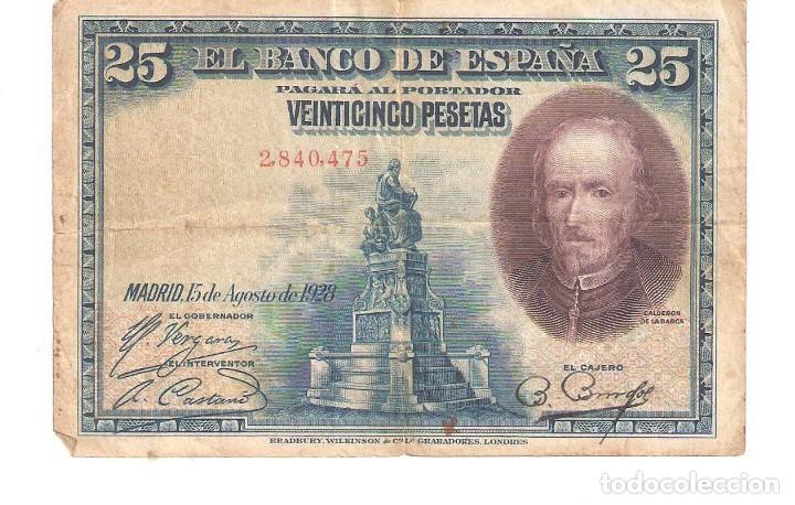 BILLETE DE ESPAÑA DE 25 PESETAS DE 1928 MUY CIRCULADO (Numismática - Notafilia - Billetes Españoles)