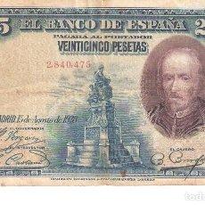 Billetes españoles: BILLETE DE ESPAÑA DE 25 PESETAS DE 1928 MUY CIRCULADO . Lote 172096807