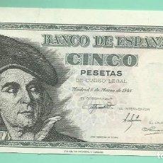 Billetes españoles: BILLETE DE 5 PESETAS 1948. PLANCHA. SERIE K. . Lote 172096817