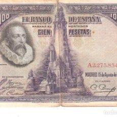 Billetes españoles: BILLETE DE ESPAÑA DE 100 PESETAS DE 1928 MUY CIRCULADO . Lote 172096947