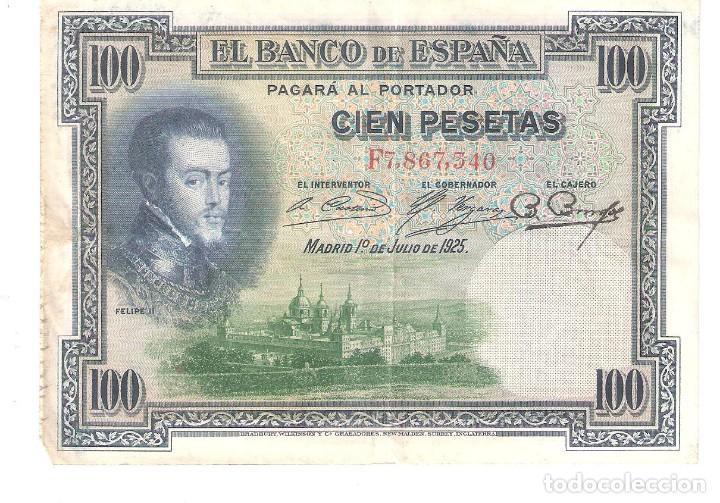 BILLETE DE ESPAÑA DE 100 PESETAS DE 1925 MUY CIRCULADO (Numismática - Notafilia - Billetes Españoles)