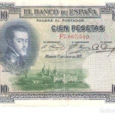 Billetes españoles: BILLETE DE ESPAÑA DE 100 PESETAS DE 1925 MUY CIRCULADO . Lote 172096993