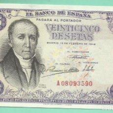 Billetes españoles: BILLETE DE 25 PESETAS 1946. PLANCHA. SERIE A. Lote 172104392