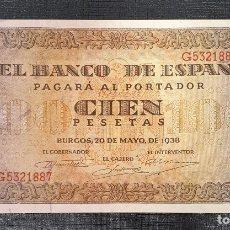 Billetes españoles: BILLETE 100 PESETAS 1938 BURGOS SERIE G. Lote 172293517