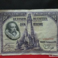 Billetes españoles: 100 PESETAS 15 DE AGOSTO 1928 SIN SERIE . Lote 172382684