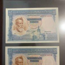Billetes españoles: PAREJA CORRELATIVA 25 PESETAS 1936 PLANCHA LUJO. Lote 172778994