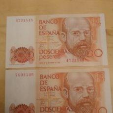 Billetes españoles: 200 PESETAS 2 BILLETES - LEOPOLDO ALAS CLARIN - 1980 - S/C- NUEVO PLANCHA SIN SERIE . Lote 173172397