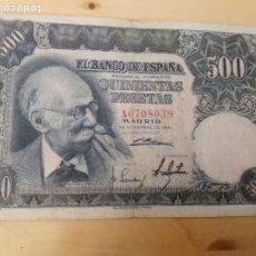 Billetes españoles: 500 PESETAS - 1951 - DE MARIANO BENLLIURE - A6708039 - SINTOMAS DE USO Y ROCE. Lote 173172433