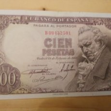 Billetes españoles: BILLETE DE 100 PESETAS DE 1946 (SERIE B) GOYA. Lote 173172684
