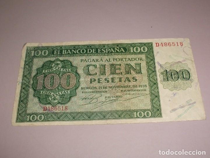 BONITO BILLETE BANCO DE ESPAÑA 100 PESETAS BURGOS 1936 (Numismática - Notafilia - Billetes Españoles)