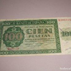 Billetes españoles: BONITO BILLETE BANCO DE ESPAÑA 100 PESETAS BURGOS 1936. Lote 173397884