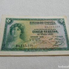 Billetes españoles: BILLETE DE 5 PESETAS AÑO 1935. Lote 173644050