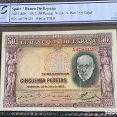 Billetes españoles: SERIE A 50 PESETAS 1935 PLANCHA LUJO CERTIFICADO REF 353. Lote 173817878
