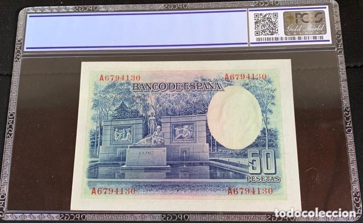 Billetes españoles: SERIE A 50 pesetas 1935 plancha lujo certificado ref 956 - Foto 2 - 173882495