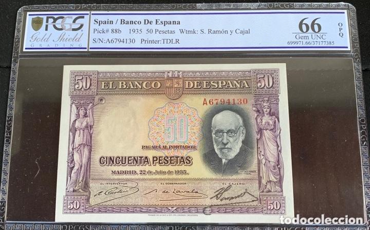 SERIE A 50 PESETAS 1935 PLANCHA LUJO CERTIFICADO REF 956 (Numismática - Notafilia - Billetes Españoles)