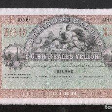 Billetes españoles: 100 REALES VELLON 1857 SERIE F BILBAO S/C. Lote 173903050