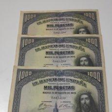Billetes españoles: TRÍO CORRELATIVO 1000 PESETAS 1928 SAN FERNANDO. Lote 174261617