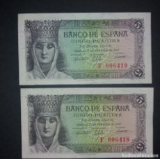 Billetes españoles: BANCO DE ESPAÑA 5 PESETAS 1943 SC SERIE F PAREJA. Lote 174631284