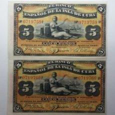 Billetes españoles: CUBA BILLETES ESPAÑOL DE CUBA 5 PESOS 1896 SC PAREJA CORRELATIVA SIN CORTAR. Lote 175020298