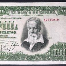 Billetes españoles: CMC 1000 PESETAS 31 DICIEMBRE 1951 SERIE A EBC. Lote 175097180