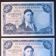 Billetes españoles: CMC 500 PESETAS 22 JULIO 1954 ZULOAGA SERIE N PAREJA CORRELATIVA SC. Lote 175139444
