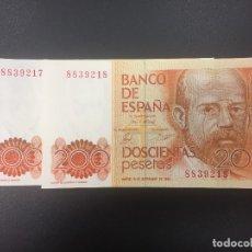 Billetes españoles: PAREJA 200 PTS 16 SEPTIEMBRE 1980 SIN SERIE PLANCHA. Lote 175360627