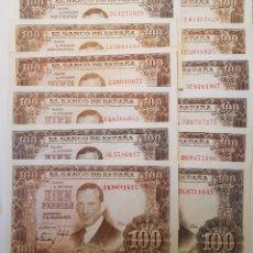 Billetes españoles: LOTE. 25 BILLETES. DE 100 PTS DE 1953. ROMERO DE TORRES. 23 SERIES DIFERENTES.. Lote 175443339