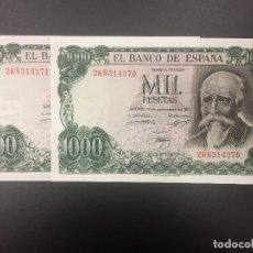 Billetes españoles: PAREJA 1000 PTS 17 SEPTIEMBRE 1971 CON SERIE PLANCHA. Lote 175457934