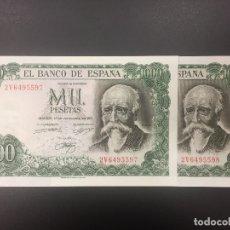 Billetes españoles: PAREJA 1000 PTS 17 SEPTIEMBRE 1971 CON SERIE PLANCHA. Lote 175457954