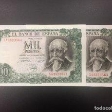 Billetes españoles: PAREJA 1000 PTS 17 SEPTIEMBRE 1971 CON SERIE PLANCHA. Lote 175457985