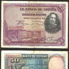 Billetes españoles: BILLETE 50 PESETAS 1928 - 2ª TIRADA CON SERIE - VELAZQUEZ - BILLETE CIRCULADO. Lote 175500153