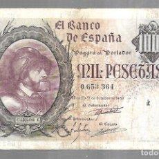 Billetes españoles: BILLETE. BANCO DE ESPAÑA. MIL PESETAS. 1940. SIN SERIE. CARLOS I. VER. Lote 175664694