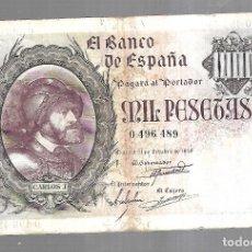 Billetes españoles: BILLETE. BANCO DE ESPAÑA. MIL PESETAS. 1940. SIN SERIE. CARLOS I. VER. Lote 175664779