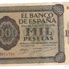 Billetes españoles: BILLETE. BANCO DE ESPAÑA. MIL PESETAS. 1936. SERIE B. BURGOS. VER. Lote 175665468