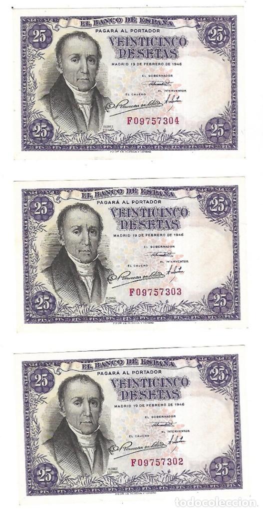 LOTE DE 3 BILLETES CORRELATIVOS. 25 PESETAS. 1946. MADRID. FLOREZ ESTRADA. VER (Numismática - Notafilia - Billetes Españoles)