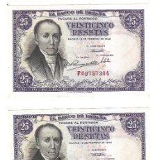 Billetes españoles: LOTE DE 3 BILLETES CORRELATIVOS. 25 PESETAS. 1946. MADRID. FLOREZ ESTRADA. VER. Lote 175665700