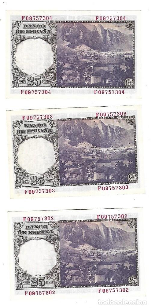 Billetes españoles: LOTE DE 3 BILLETES CORRELATIVOS. 25 PESETAS. 1946. MADRID. FLOREZ ESTRADA. VER - Foto 2 - 175665700