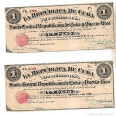 Billetes españoles: PAREJA BILLETES CORRELATIVOS. LA REPUBLICA DE CUBA. UN PESO. 1869. VER FOTOS. Lote 175665965