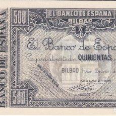 Billetes españoles: BILLETE DE 500 PESETAS DEL BANCO DE BILBAO DEL AÑO 1937 CON MATRIZ SIN CIRCULAR (SC) MUY RARO. Lote 175784304