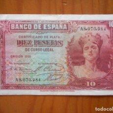 Notas espanholas: BILLETE DE 10 PESETAS DE 1935. SERIE A. CERTIFICADO DE PLATA. BUEN ESTADO. Lote 175931108