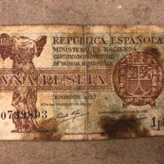 Billetes españoles: BILLETE DE 1 PESETA DE LA REPÚBLICA ESPAÑOLA. EMISIÓN 1937. SERIE C.. Lote 176001140
