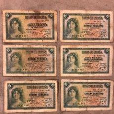 Billetes españoles: LOTE DE 7 BILLETES DE 5 PESETAS DE 1935. 2 SERIE A, 2 SERIE B, 2 SERIE C Y 1 SIN SERIE.. Lote 176002553