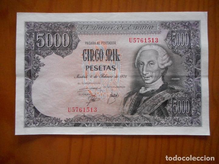 BILLETE DE 5000 PESETAS DE 1976. SERIE U. CARLOS III. NUEVO, NO CIRCULADO (Numismática - Notafilia - Billetes Españoles)