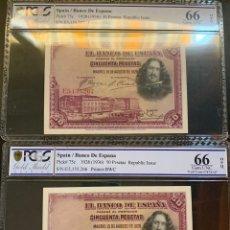 Billetes españoles: PCGS 66/ PAREJA CORRELATIVA 50 PESETAS 1928 ÚLTIMA SERIE EMITIDA PLANCHA LUJO. Lote 176020052