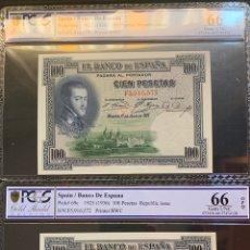Billetes españoles: PCGS 66/ PAREJA CORRELATIVA 100 PESETAS 1925 ÚLTIMA SERIE EMITIDA PLANCHA LUJO. Lote 176020288