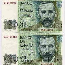 Billetes españoles: PAREJA 2 BILLETES 1000 PESETAS , 1979 PLANCHA CON SERIE , CORRELATIVOS , ORIGINALES. Lote 176087768