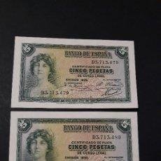 Billetes españoles: 5 PESETAS DE 1935 PAREJA CORRELATIVA SERIE D-479/480 S.C. Lote 176106480