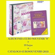 Billetes españoles: SET DE ALBUM MODELO PUBLICA M PARA €UROSOUVENIRS + 10 HOJAS TRANSPARENTES + CATALOGO €URO SOUVENIRS. Lote 176136759